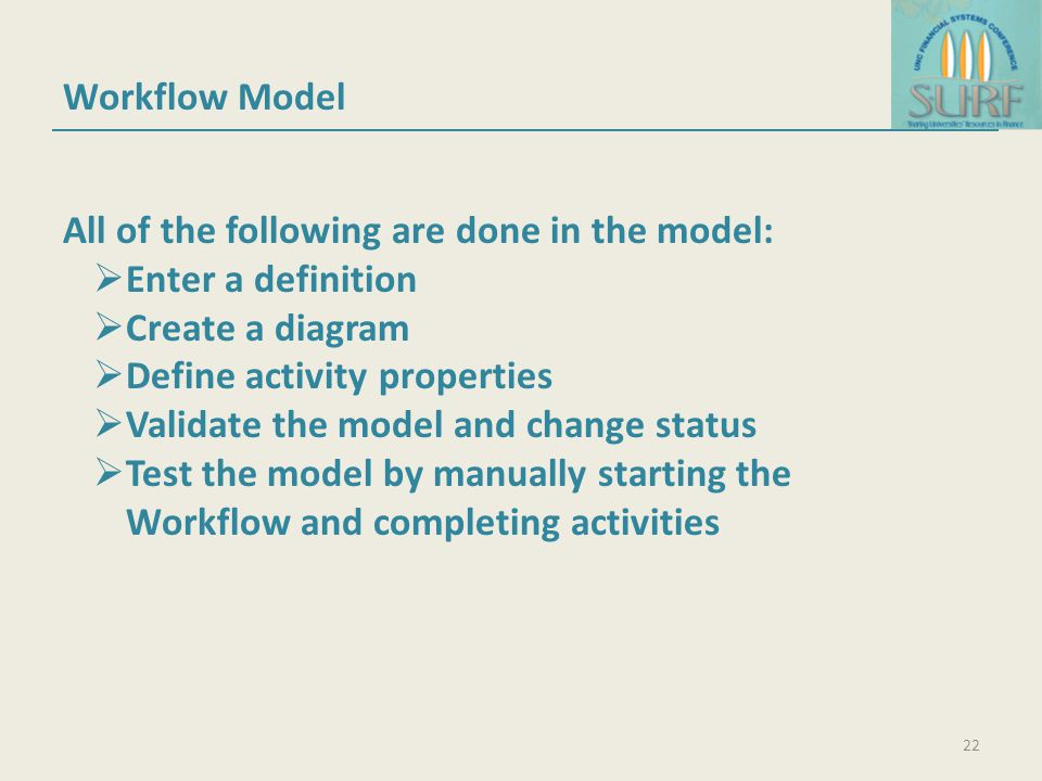 Workflow Model All of the following are done in the model: Enter a definition. Create a diagram. Define activity properties.