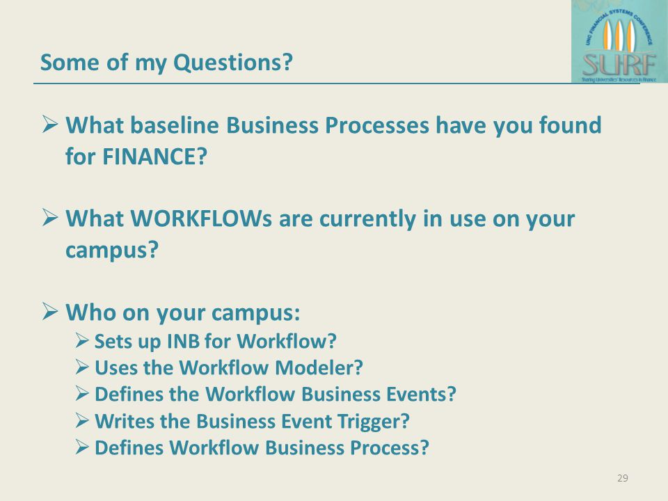What baseline Business Processes have you found for FINANCE