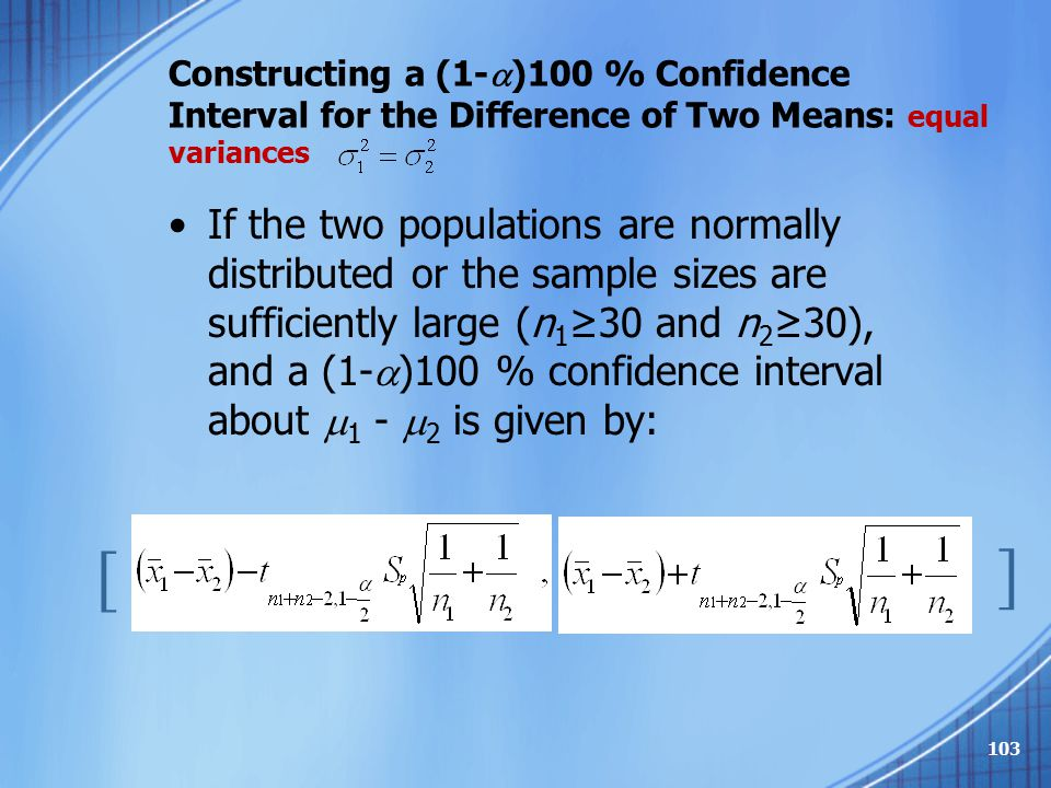 Constructing a (1-)100 % Confidence Interval for the Difference of Two Means: equal variances