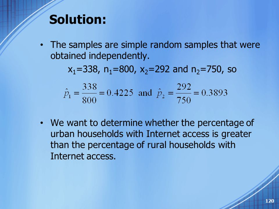 Solution: The samples are simple random samples that were obtained independently. x1=338, n1=800, x2=292 and n2=750, so.