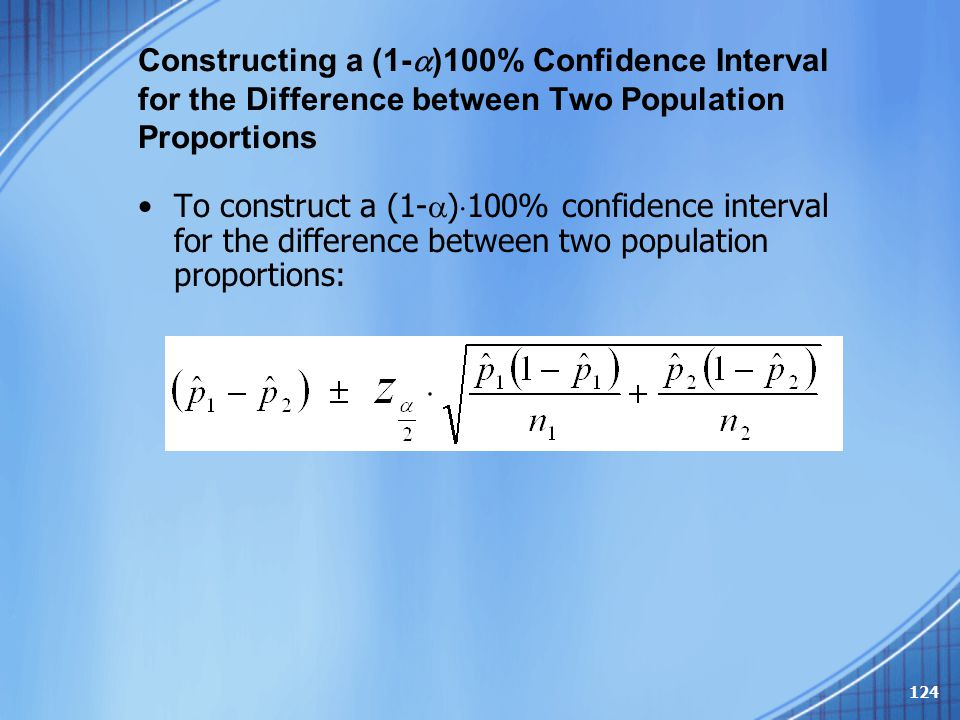 Constructing a (1-)100% Confidence Interval for the Difference between Two Population Proportions