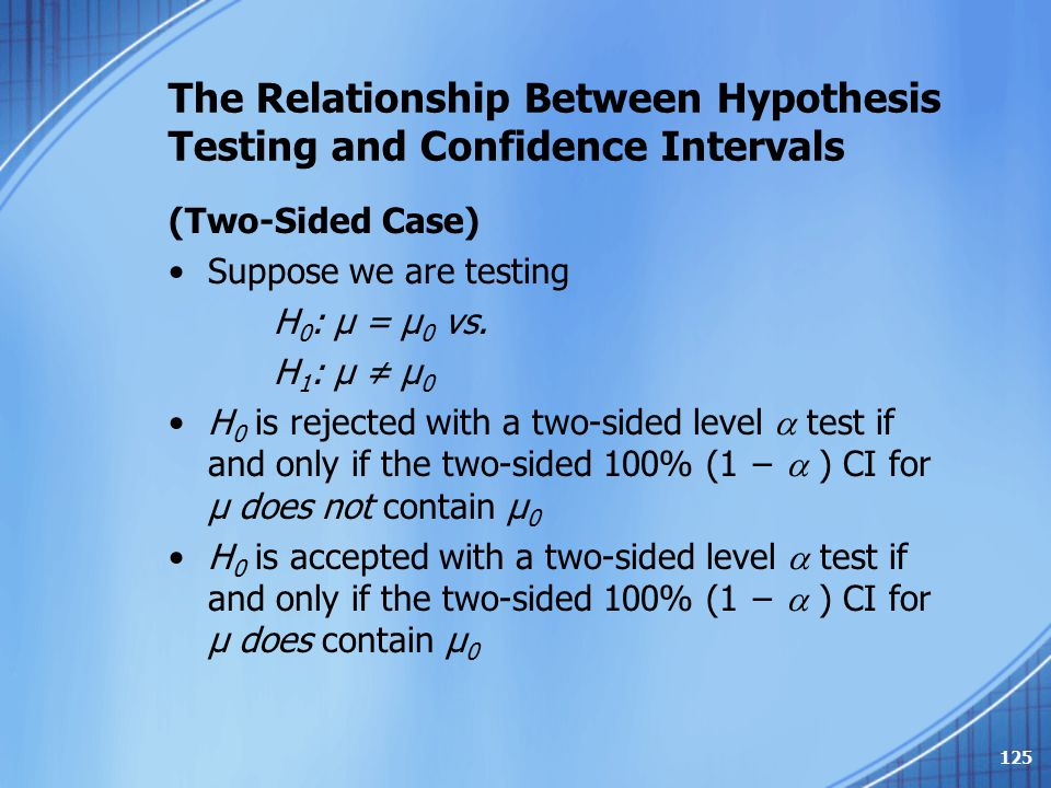 The Relationship Between Hypothesis Testing and Confidence Intervals