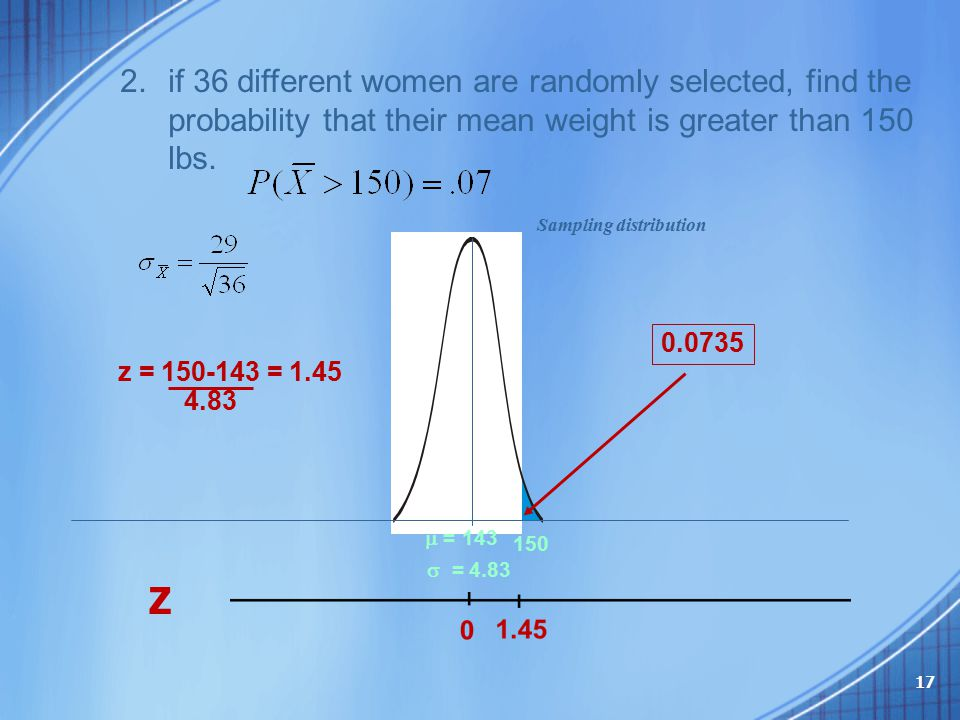 if 36 different women are randomly selected, find the probability that their mean weight is greater than 150 lbs.