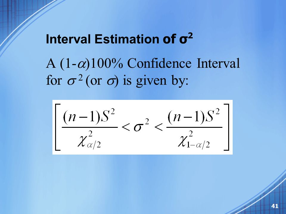 Interval Estimation of σ2