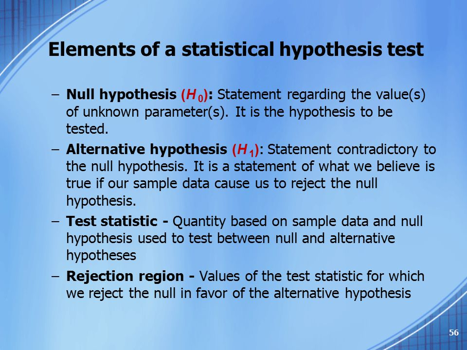 Elements of a statistical hypothesis test
