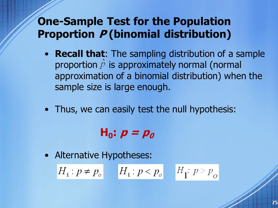 One-Sample Test for the Population Proportion P (binomial distribution)