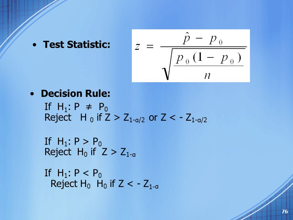 Test Statistic: Decision Rule: If H1: P ≠ P0. Reject H 0 if Z > Z1-α/2 or Z < - Z1-α/2. If H1: P > P0.
