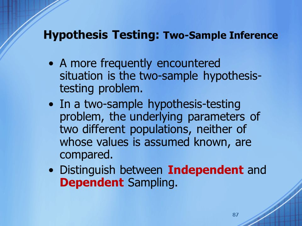 Hypothesis Testing: Two-Sample Inference