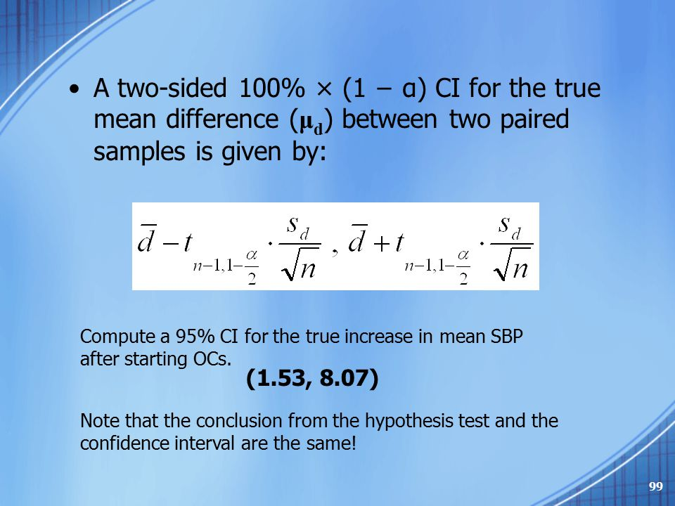 A two-sided 100% × (1 − α) CI for the true mean difference (μd) between two paired samples is given by: