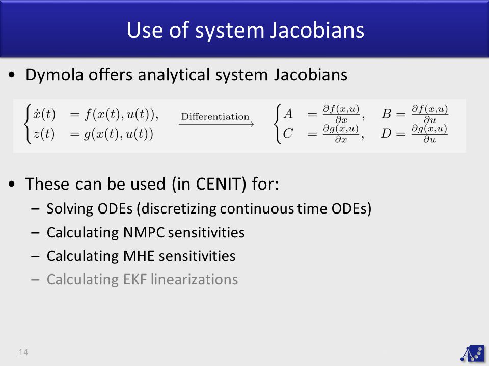 Use of system Jacobians