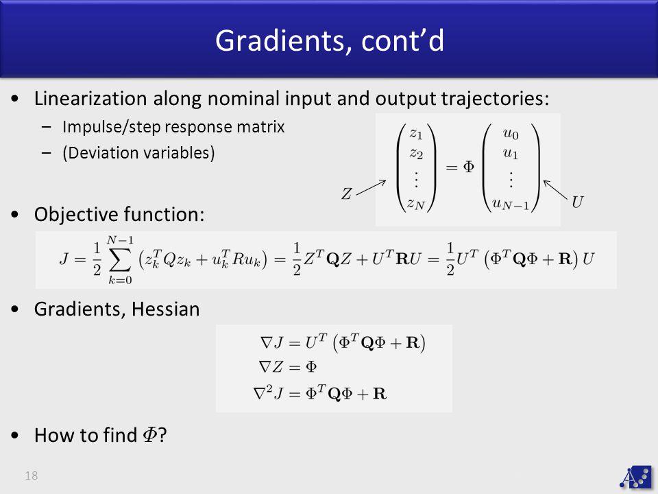 Gradients, cont'd Linearization along nominal input and output trajectories: Impulse/step response matrix.