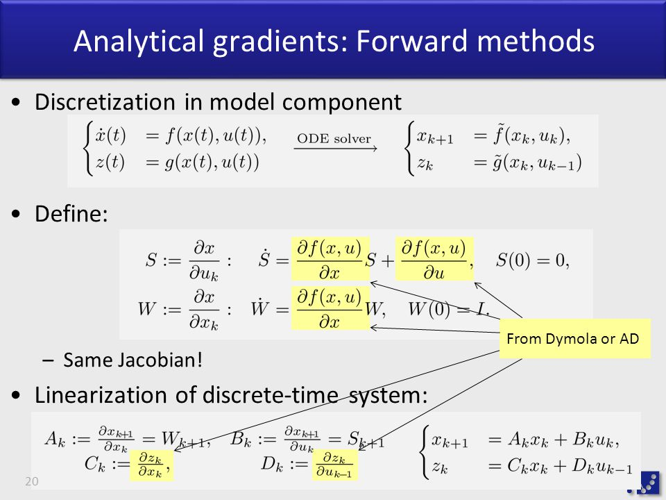 Analytical gradients: Forward methods