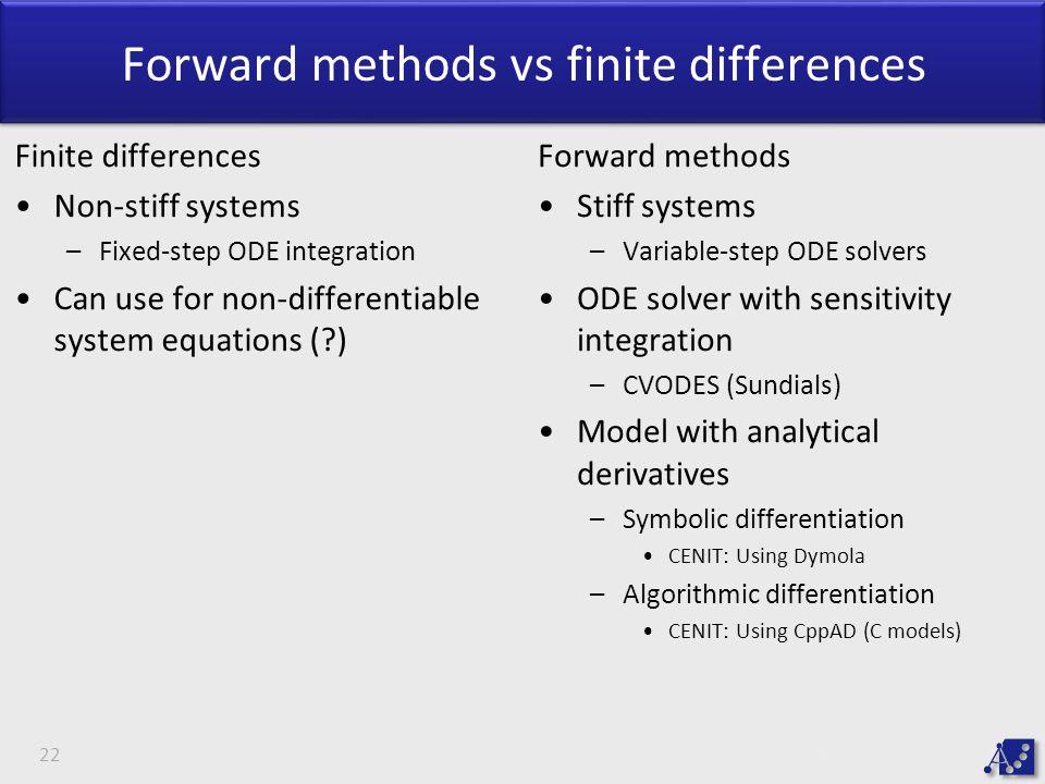 Forward methods vs finite differences