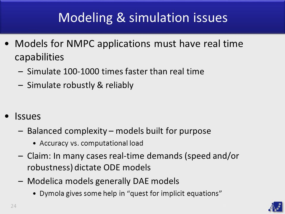 Modeling & simulation issues