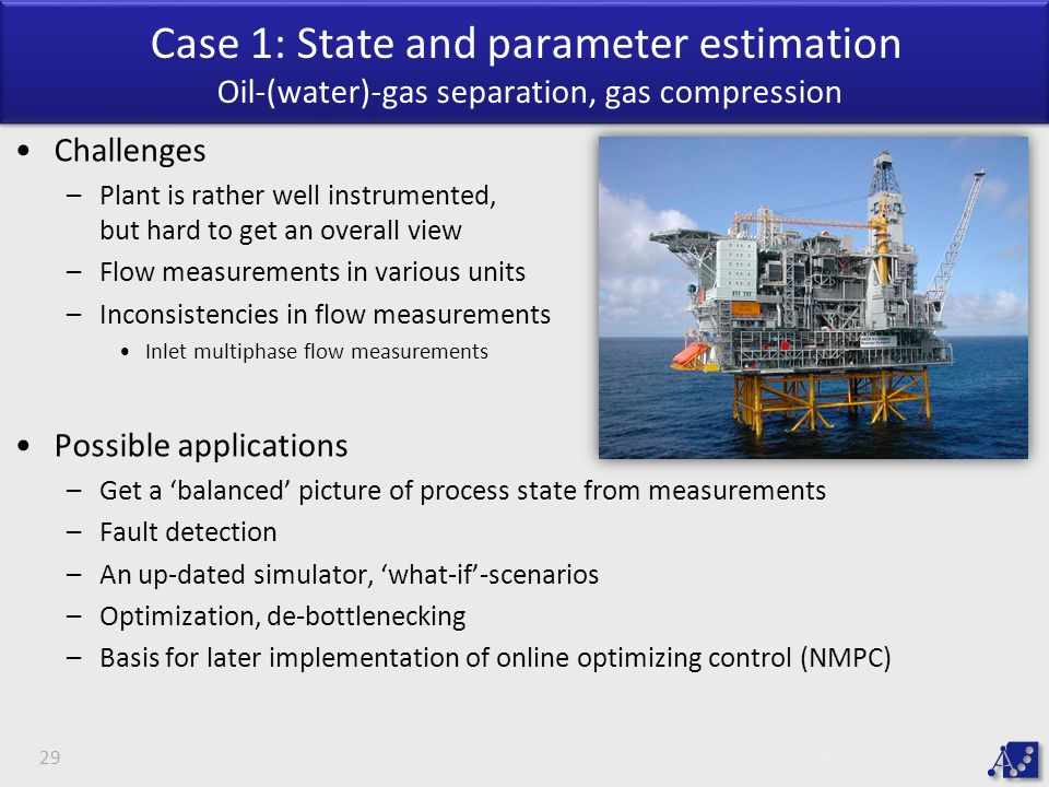 Case 1: State and parameter estimation Oil-(water)-gas separation, gas compression
