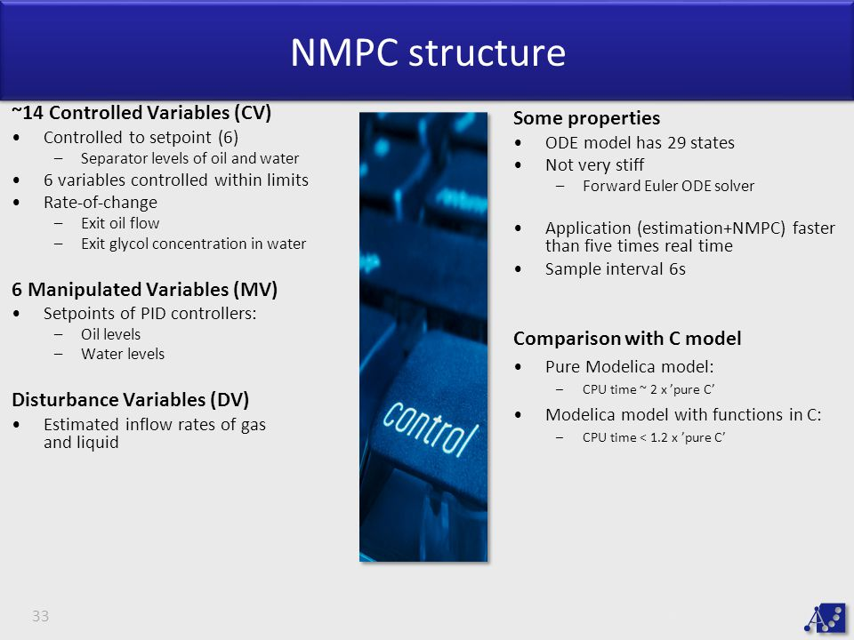 NMPC structure ~14 Controlled Variables (CV) Some properties