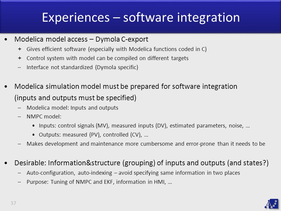 Experiences – software integration