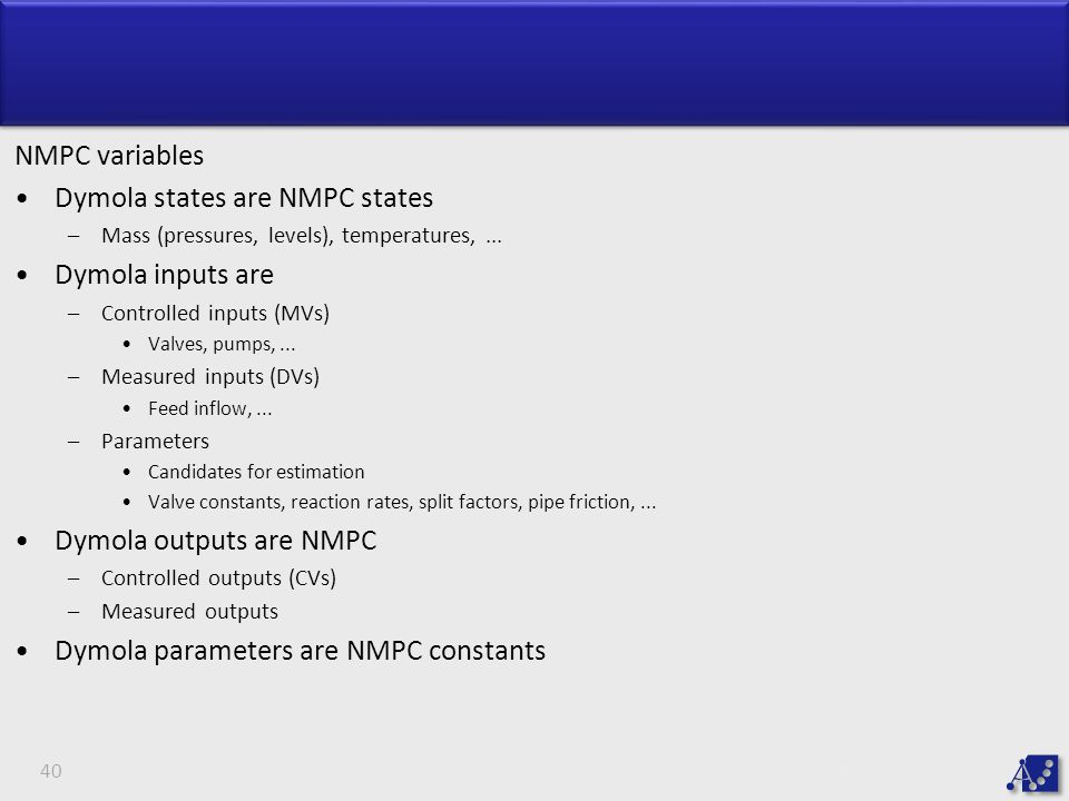 Dymola states are NMPC states Dymola inputs are