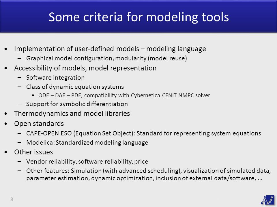 Some criteria for modeling tools