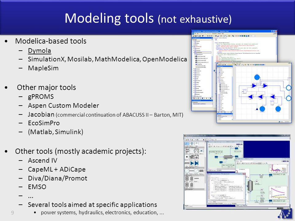 Modeling tools (not exhaustive)