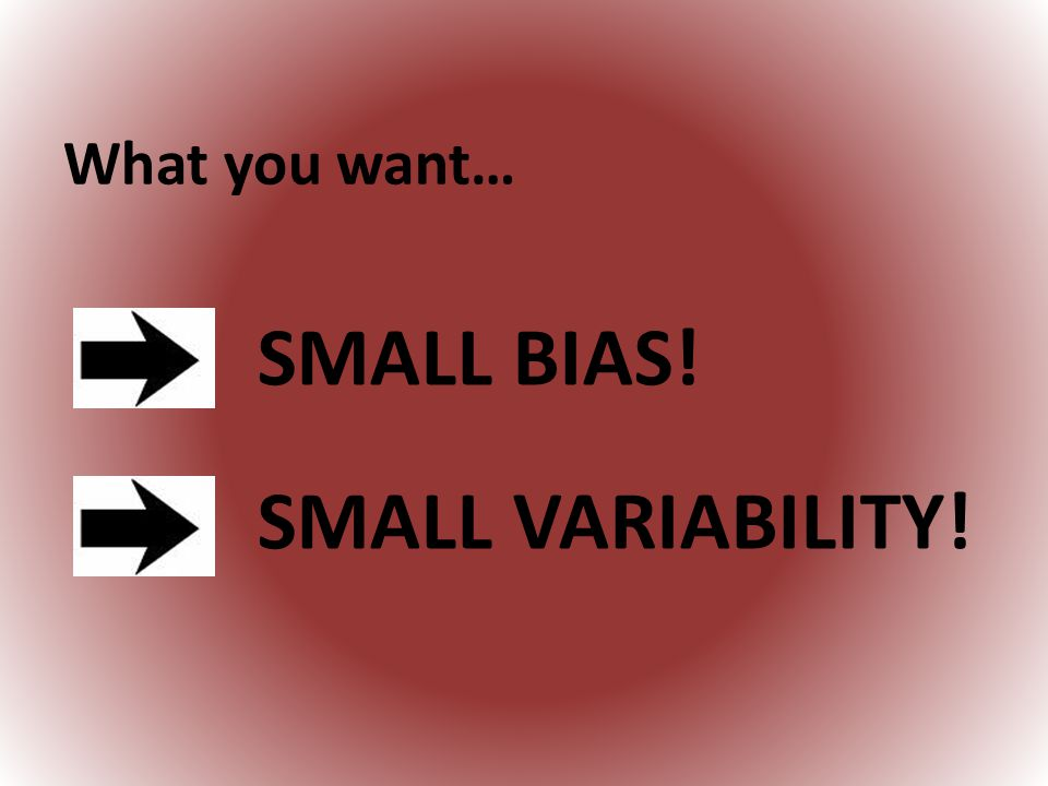 SMALL BIAS! SMALL VARIABILITY!