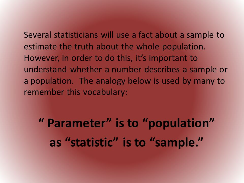 as statistic is to sample.