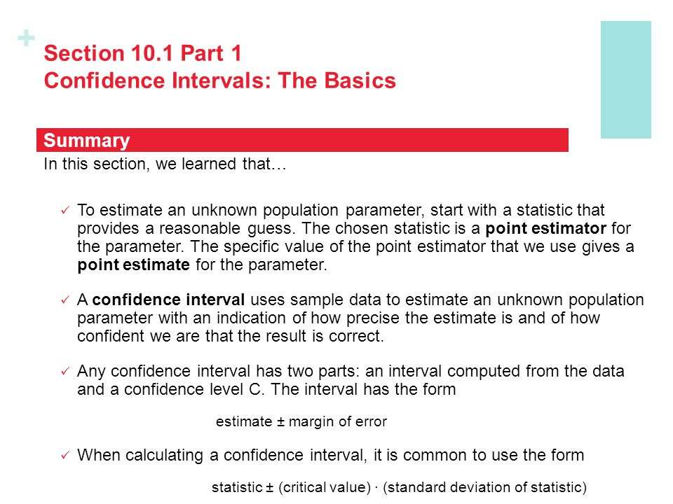 Section 10.1 Part 1 Confidence Intervals: The Basics