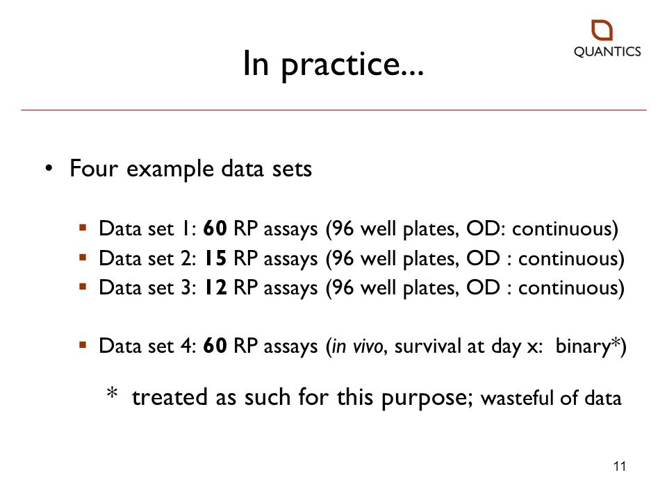 In practice... Four example data sets