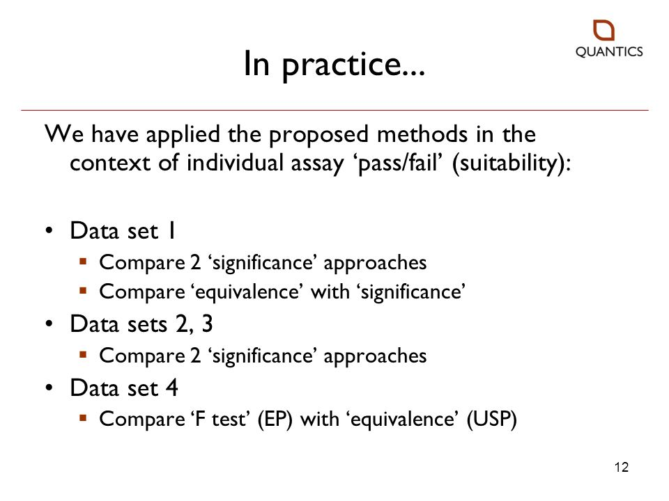 In practice... We have applied the proposed methods in the context of individual assay 'pass/fail' (suitability):