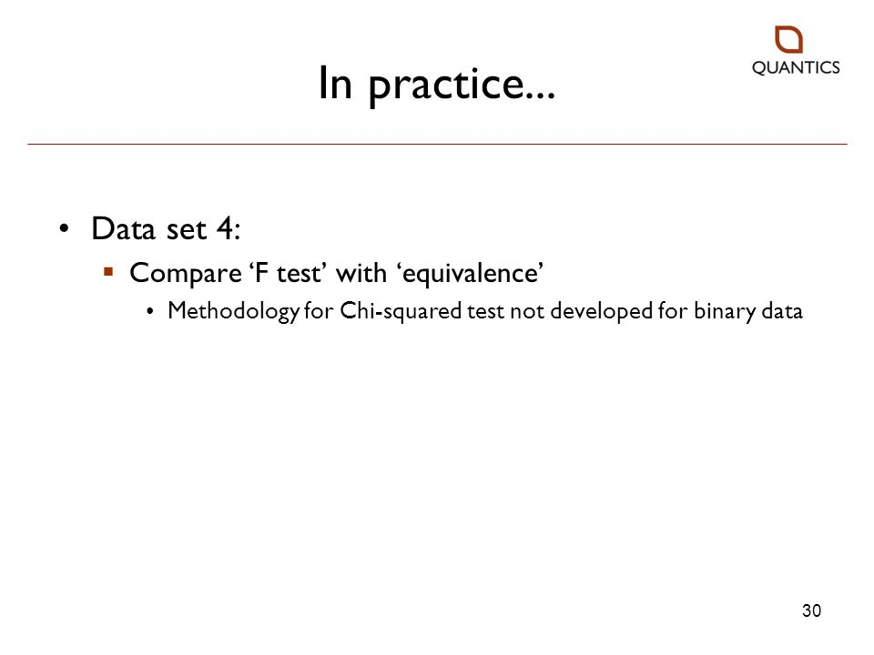 In practice... Data set 4: Compare 'F test' with 'equivalence'