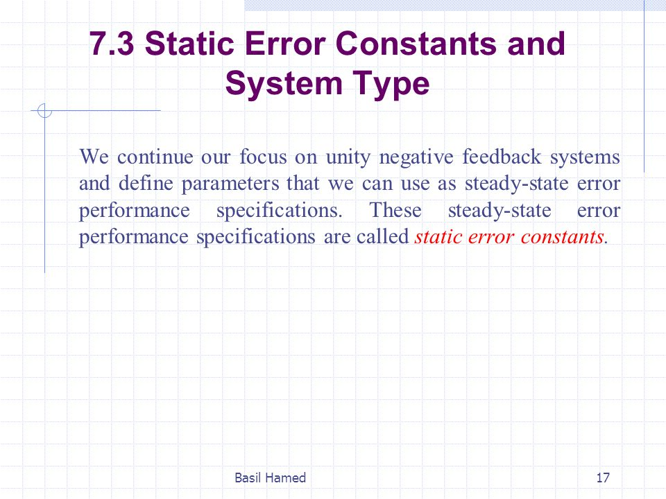 7.3 Static Error Constants and System Type