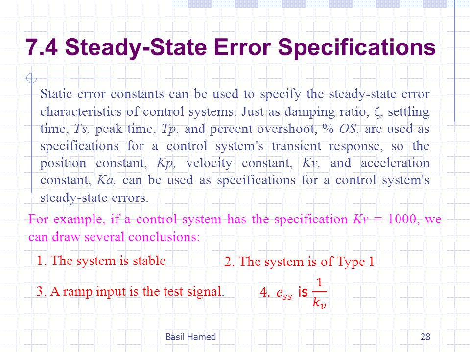 7.4 Steady-State Error Specifications