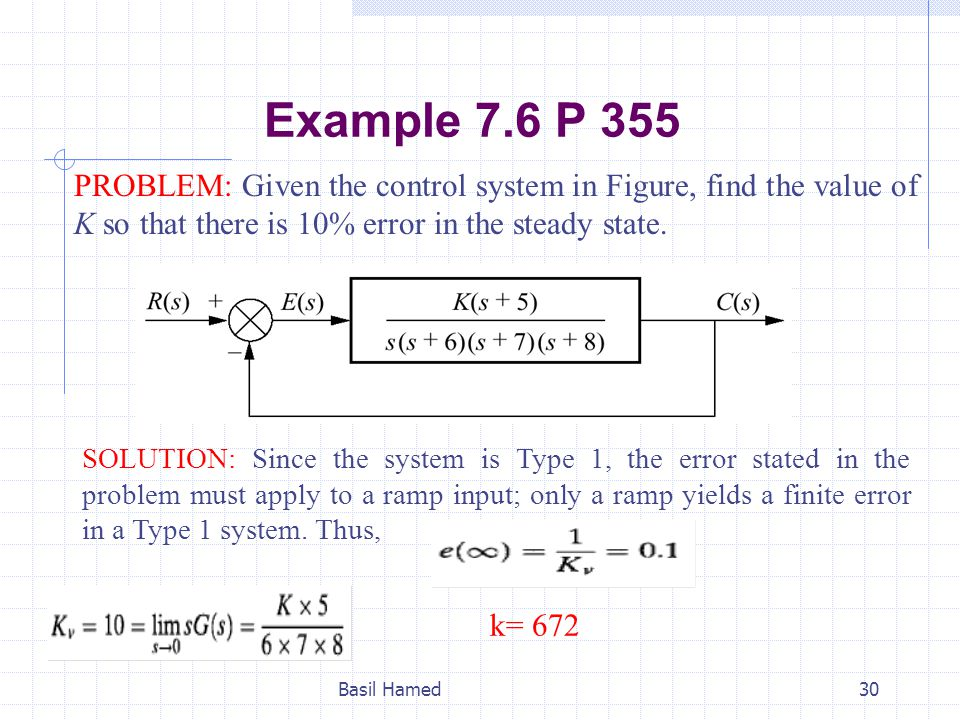 Example 7.6 P 355 PROBLEM: Given the control system in Figure, find the value of K so that there is 10% error in the steady state.