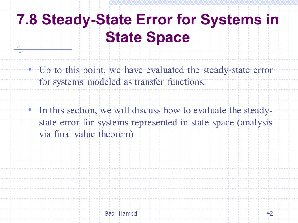 7.8 Steady-State Error for Systems in State Space