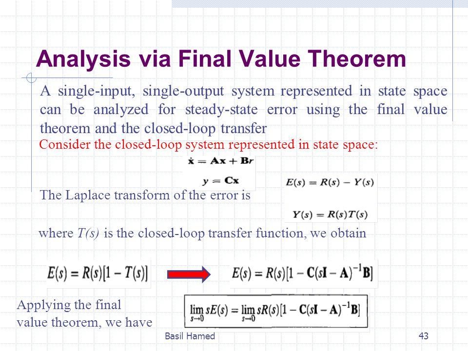 Analysis via Final Value Theorem