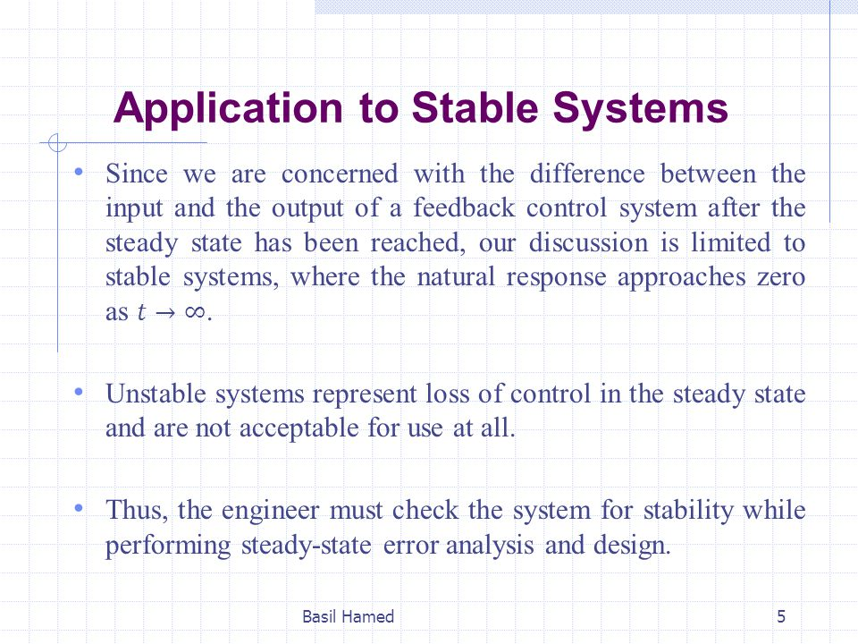 Application to Stable Systems