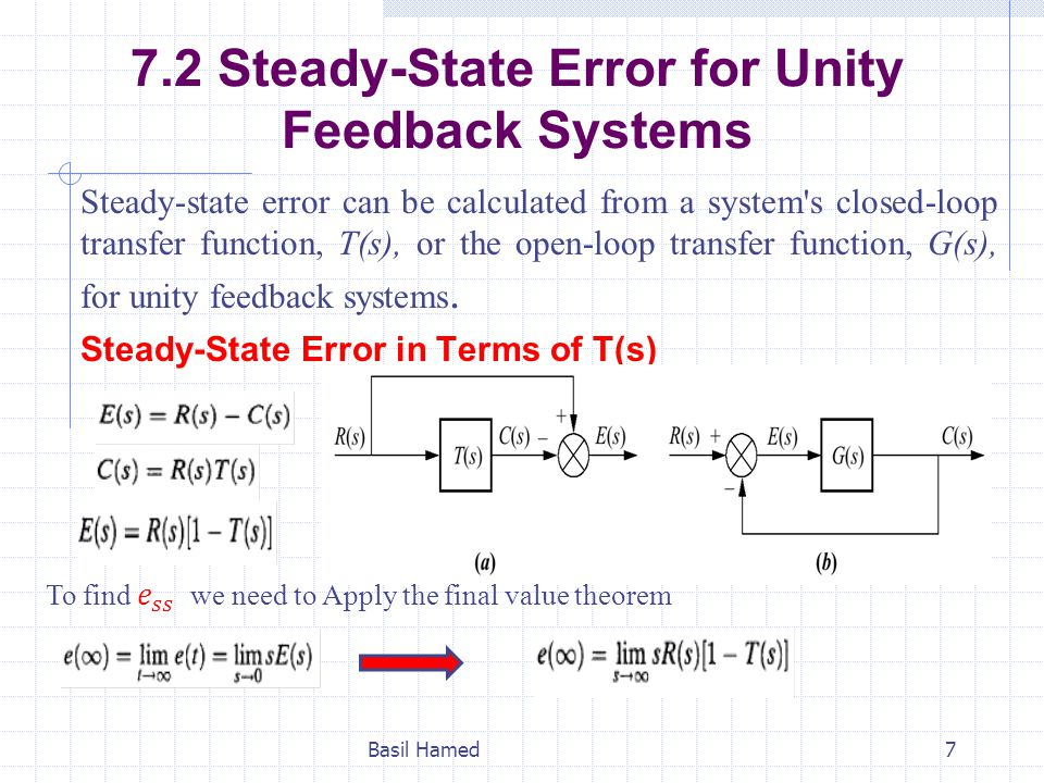 7.2 Steady-State Error for Unity Feedback Systems