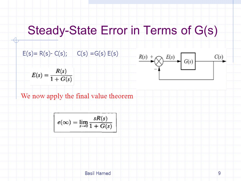 Steady-State Error in Terms of G(s)