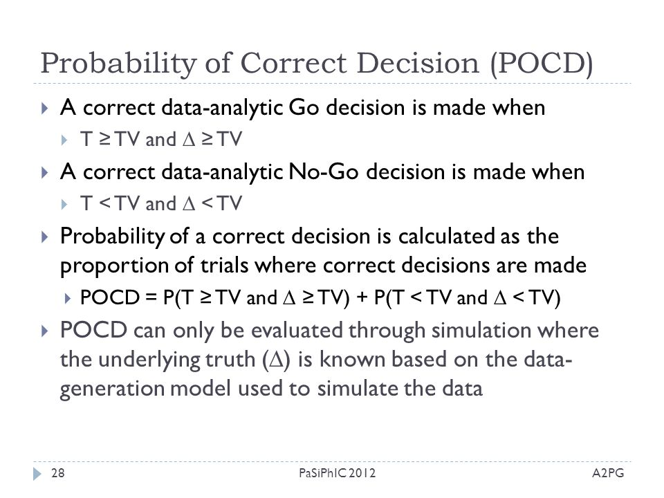 Probability of Correct Decision (POCD)