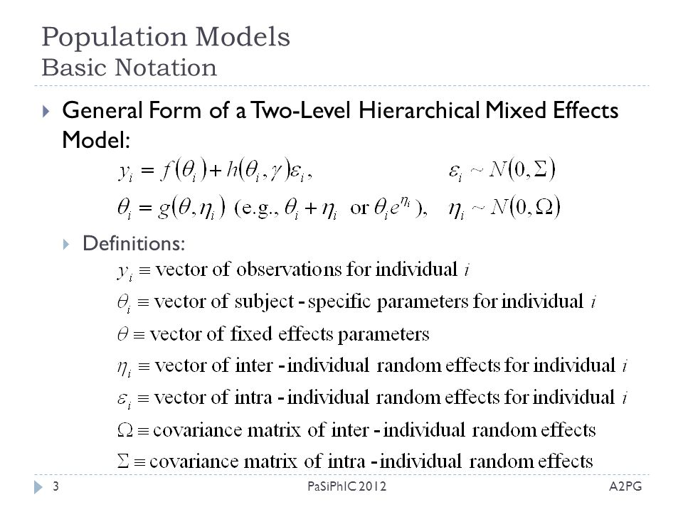 Population Models Basic Notation