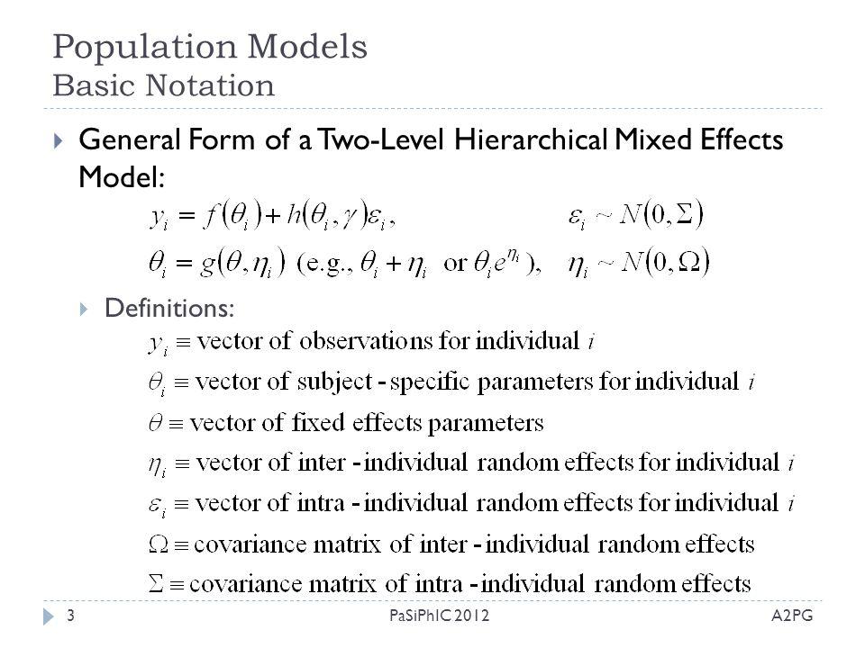Population Models Basic Notation