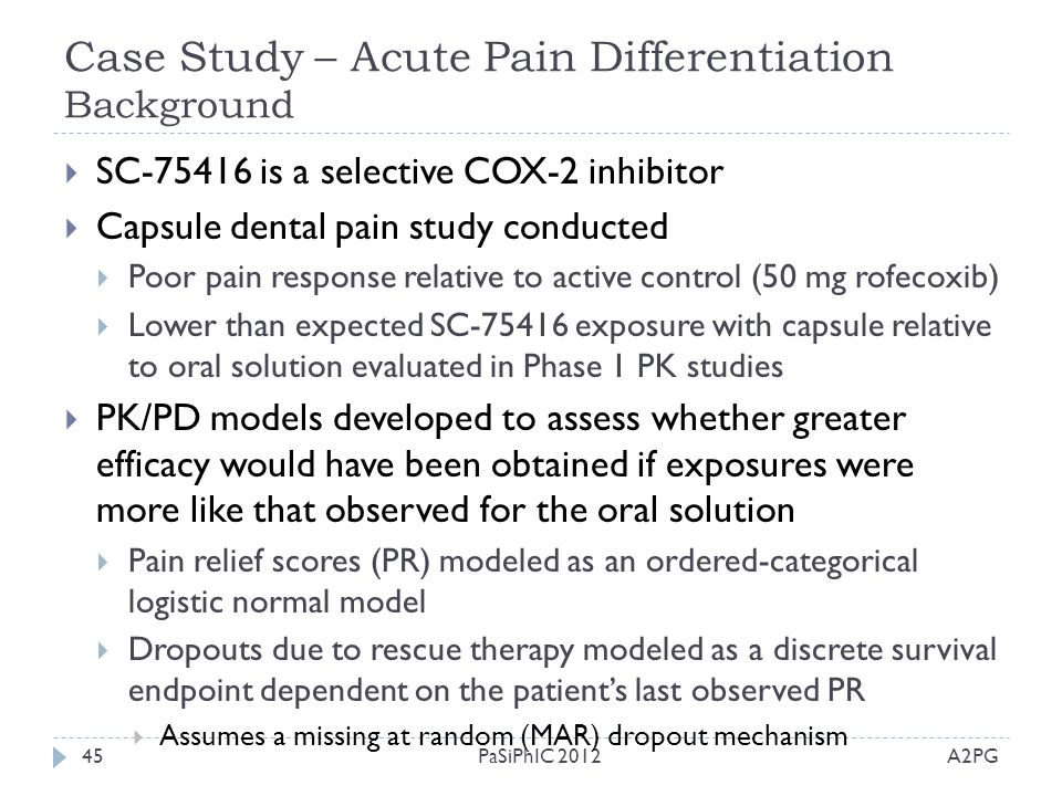 Case Study – Acute Pain Differentiation Background