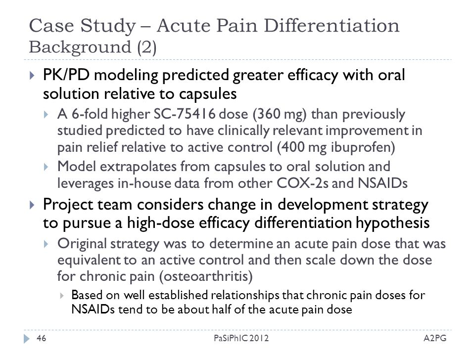 Case Study – Acute Pain Differentiation Background (2)