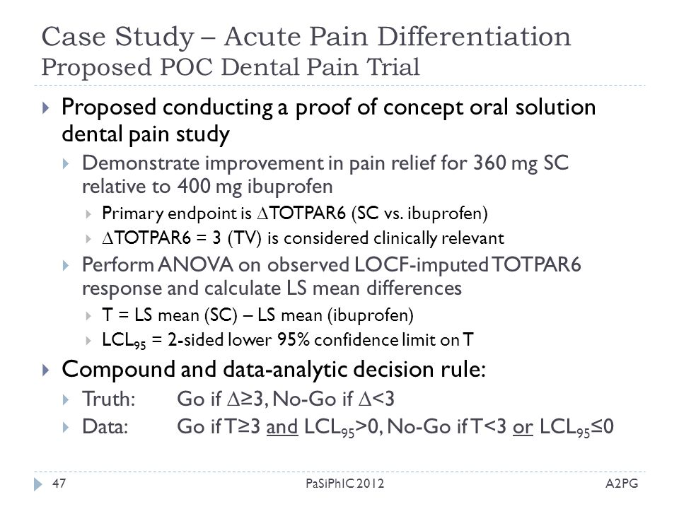 Case Study – Acute Pain Differentiation Proposed POC Dental Pain Trial
