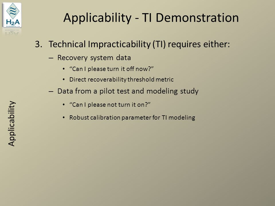 Applicability - TI Demonstration