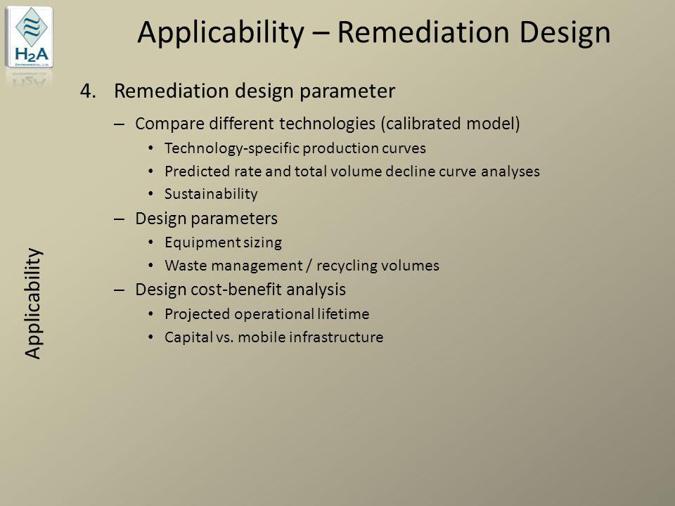 Applicability – Remediation Design