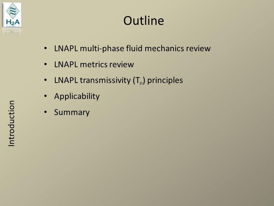 Outline LNAPL multi-phase fluid mechanics review LNAPL metrics review