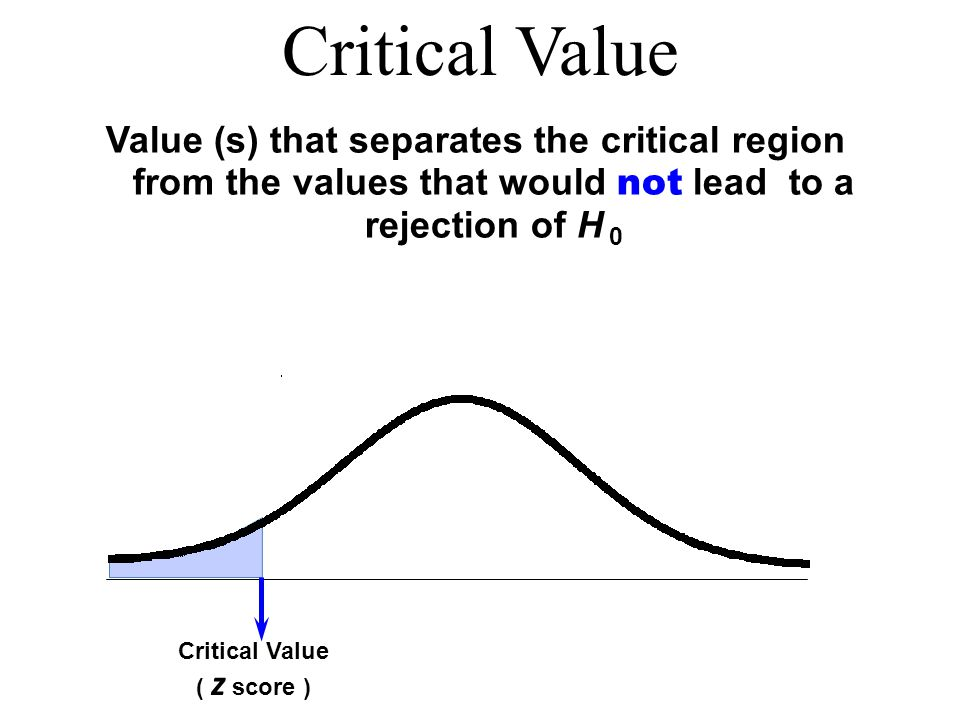 Critical Value Value (s) that separates the critical region from the values that would not lead to a rejection of H 0.