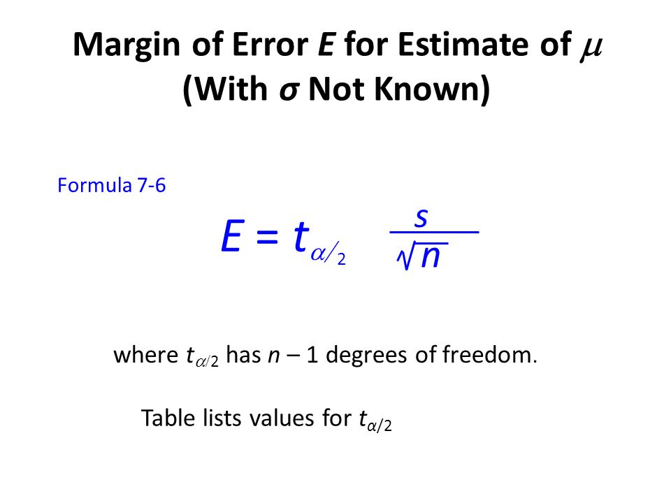 Margin of Error E for Estimate of  (With σ Not Known)