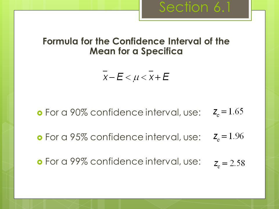 Formula for the Confidence Interval of the Mean for a Specificα